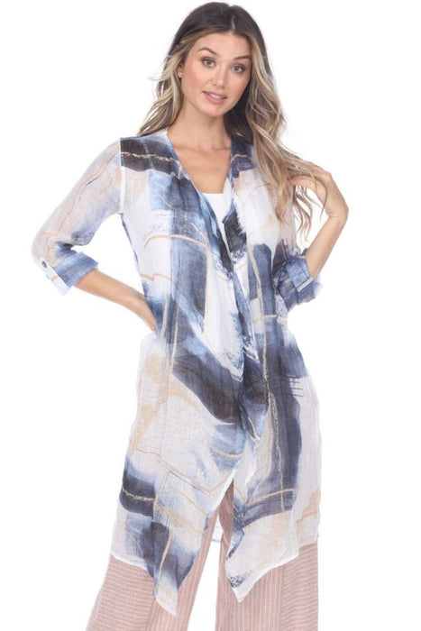 NIC+ZOE Style M201664 Blue/Multi Abstract Grid Print Open Front Long Cardigan