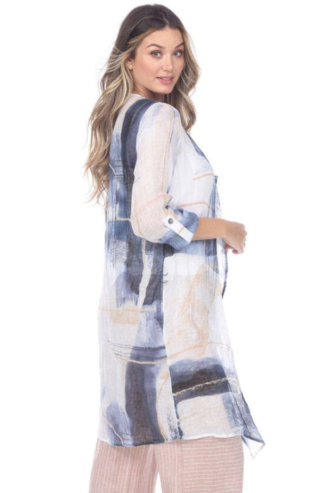 NIC+ZOE Blue/Multi Abstract Grid Print Open Front Long Cardigan M201664 NEW