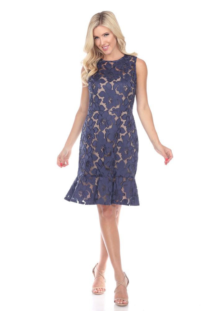 Joseph Ribkoff Style 191493 Navy Floral Lace Overlay Sleeveless Cocktail Dress