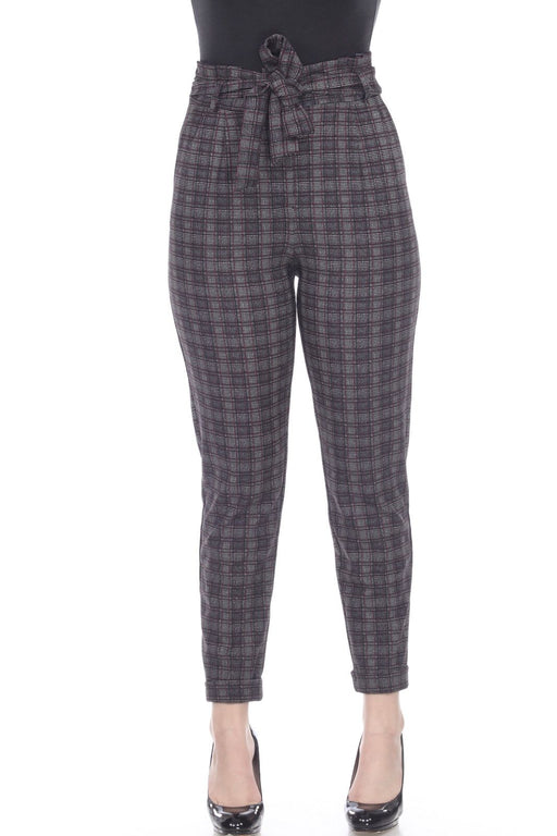 Joseph Ribkoff Style 193626 Black Wine Red White Plaid Belted High-Waist Pants