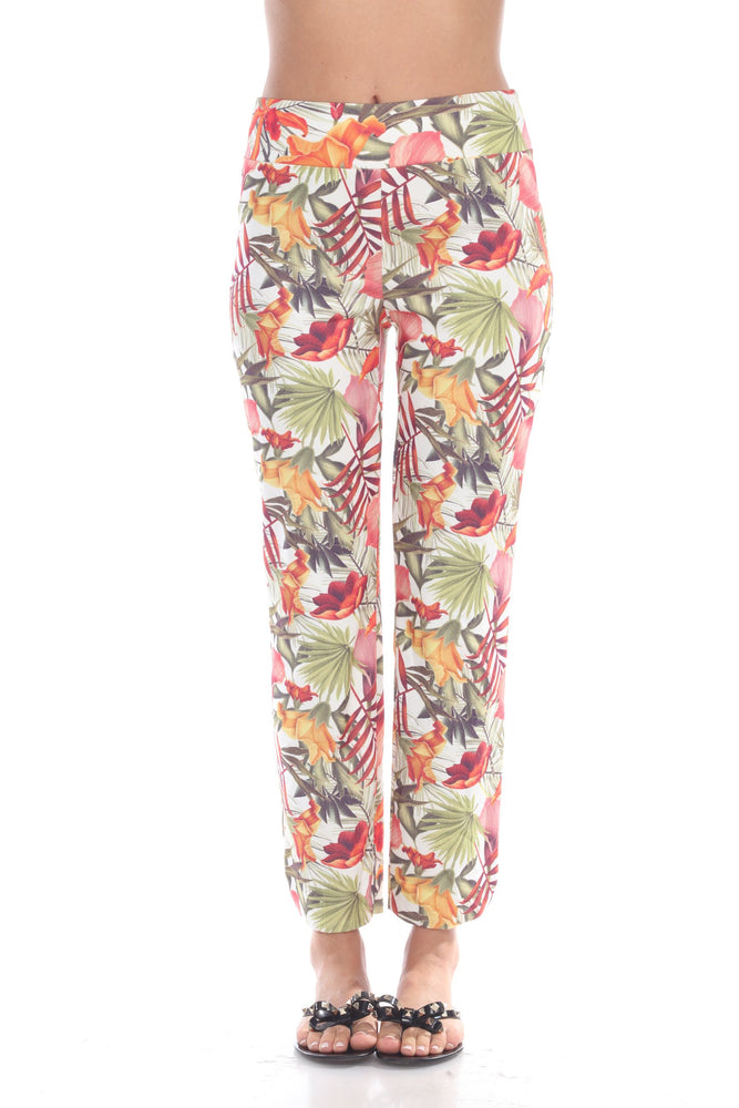 Joseph Ribkoff Style 192690 Multicolor Floral Print Straight Cut Cropped Pants