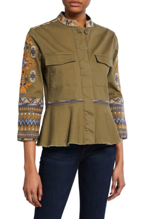 Johnny Was Style W44319 Amika military Green Embroidered Peplum Military Jacket Boho Chic