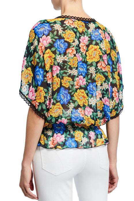 Johnny Was Ava Floral Smock Waist Tasseled Top Boho Chic L11119 NEW