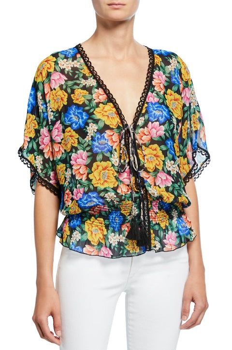 Johnny Was Style L11119 Ava  Multicolor Floral Smock Waist Tasseled Top Boho Chic