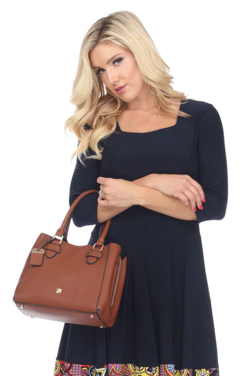 Joseph Ribkoff Style 201252 Cognac Faux Leather Mini Satchel Bag