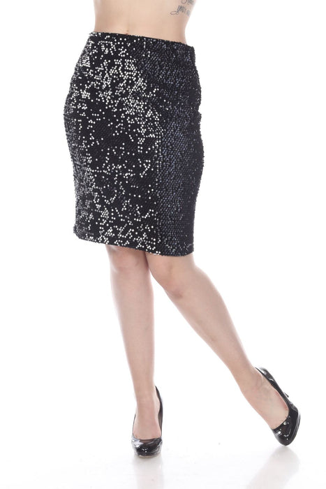 Joseph Ribkoff Style 194547 Black Silver Two-Tone Sequined Slip-On Pencil Skirt