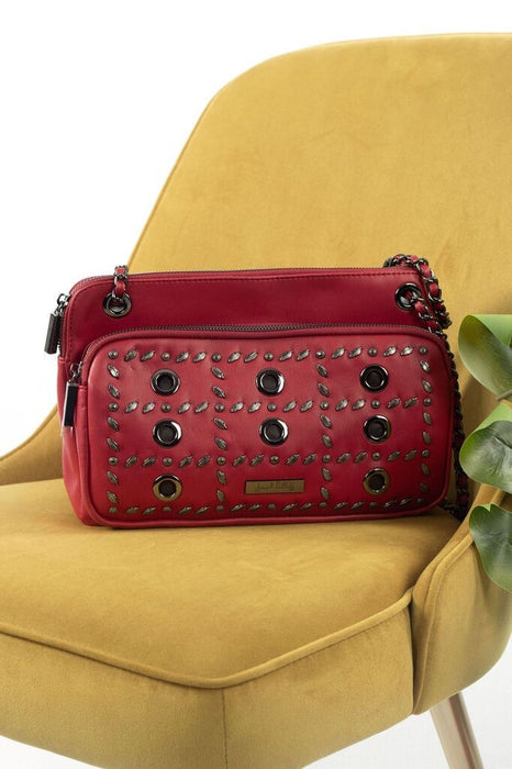 Joseph Ribkoff Red Wine Leaf-Grommet Accent Chain Link Strap Faux Leather Crossbody Bag 194997 NEW