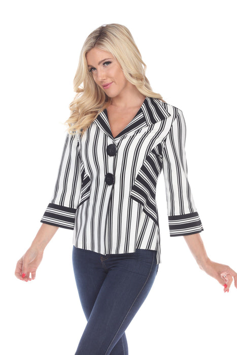 Joseph Ribkoff Black/White Striped 3/4 Sleeve Cover-Up Jacket 193869 NEW