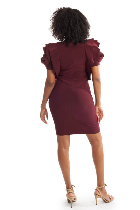 Joseph Ribkoff Cabernet Ruffled Rose Cape Sleeve Sheath Dress 194007 NEW