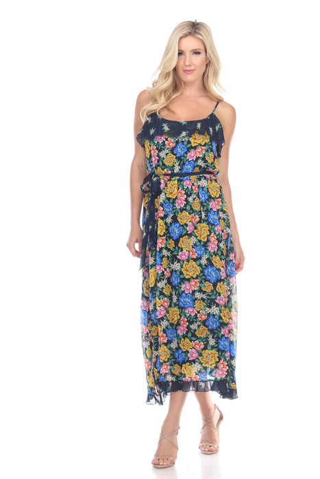 Jade by Johnny Was Rodas Floral Mixed Tier Midi Dress Boho Chic L31219 NEW