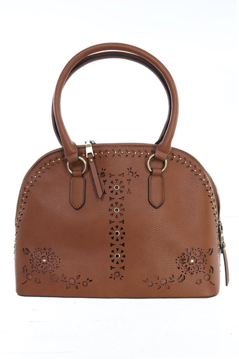 Joseph Ribkoff Style 201244 Cognac Perforated Faux Leather Bowler Bag