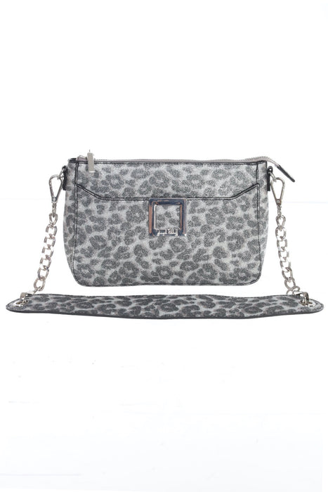 Joseph Ribkoff Style 193864 Silver Leopard Print Chain Link Strap Faux Leather Crossbody Bag