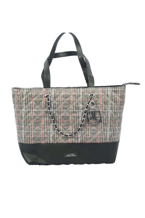 Joseph Ribkoff Style 194992 Black White Red Plaid Quilted Chain Link Detail Tote Bag