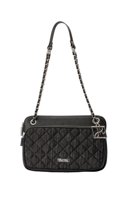 Joseph Ribkoff Black/Silver Quilted Chain Link Strap Faux Leather Crossbody Bag 194994 NEW