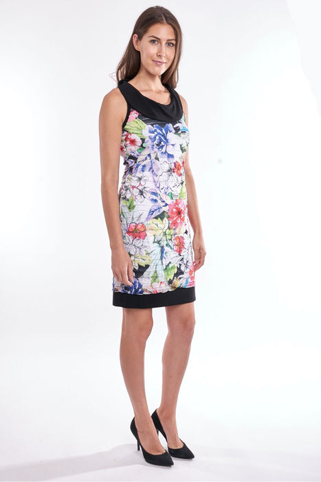 Joseph Ribkoff Multi Floral Print Layered Ruffle Sheath Dress 192649 NEW
