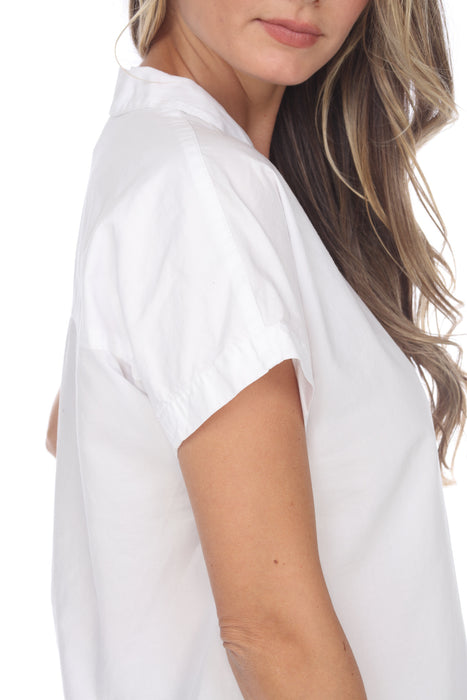XCVI White Rosaleen Short Sleeve Button-Down Top 13750LC NEW