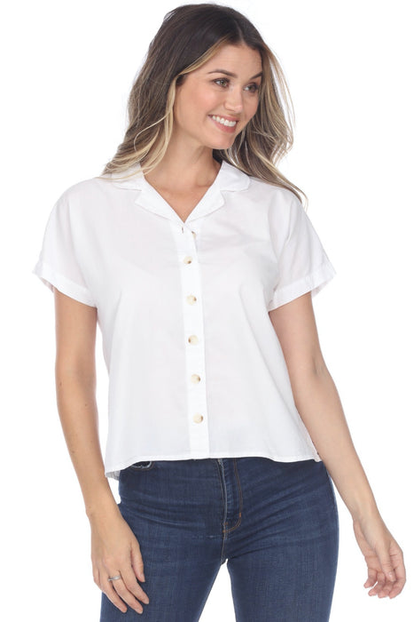 XCVI Style 13750LC White Rosaleen Short Sleeve Button-Down Top