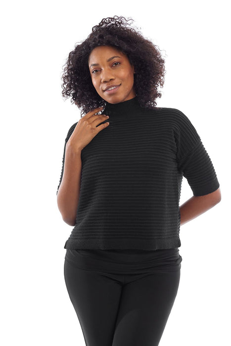 Joseph Ribkoff Style 193909 Black Ribbed High Neck 3/4 Sleeve Top