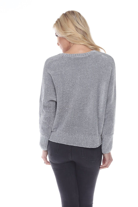 Joseph Ribkoff Grey Frost Long Sleeve Knit Ribbed Sweater Top 194881 NEW