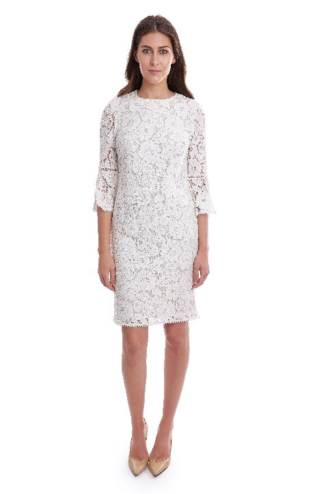 Joseph Ribkoff Style 192504 Vanilla Floral Lace 3/4 Sleeve Shift Dress