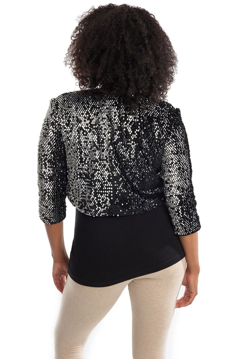 Joseph Ribkoff Black/Silver Sequined 3/4 Sleeve Bolero Jacket 194545 NEW