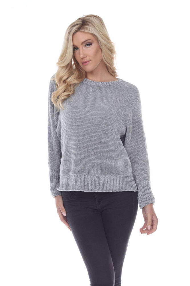 Joseph Ribkoff Style 194881 Grey Frost Crew Neck Long Sleeve Knit Ribbed Sweater Top