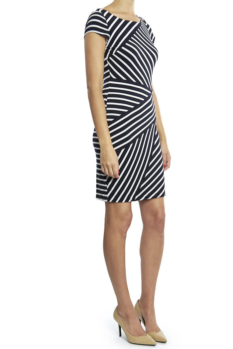 Joseph Ribkoff Midnight Blue/White Striped Short Sleeve Sheath Dress 181308 NEW