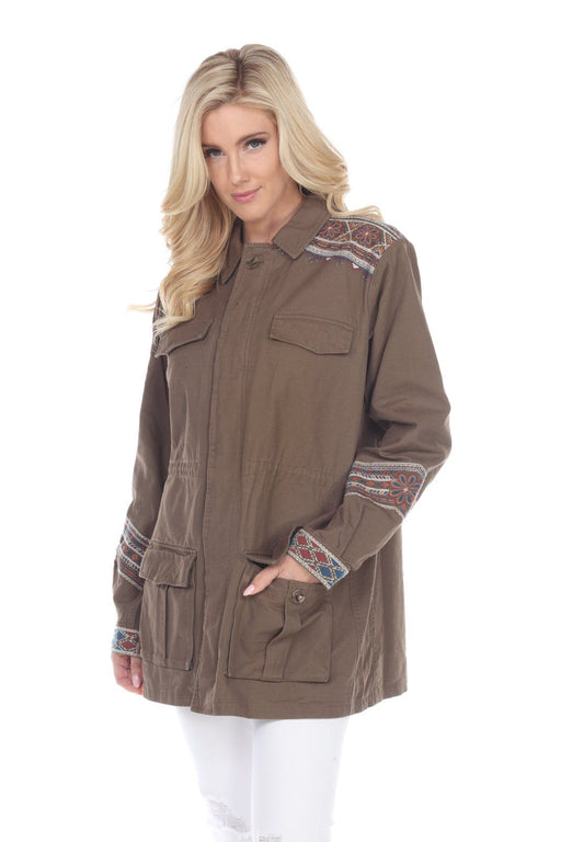 Johnny Was Style W46119 Molly Jo Military Green Embroidered Zip-Up Cargo Military Jacket Boho Chic