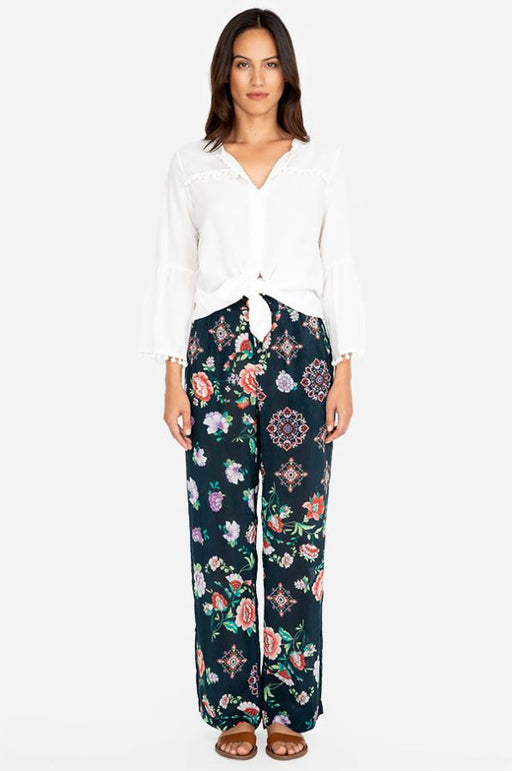 Johnny Was Style C63519B6 Vega Multicolor Floral Print Wide Leg Pants Boho Chic