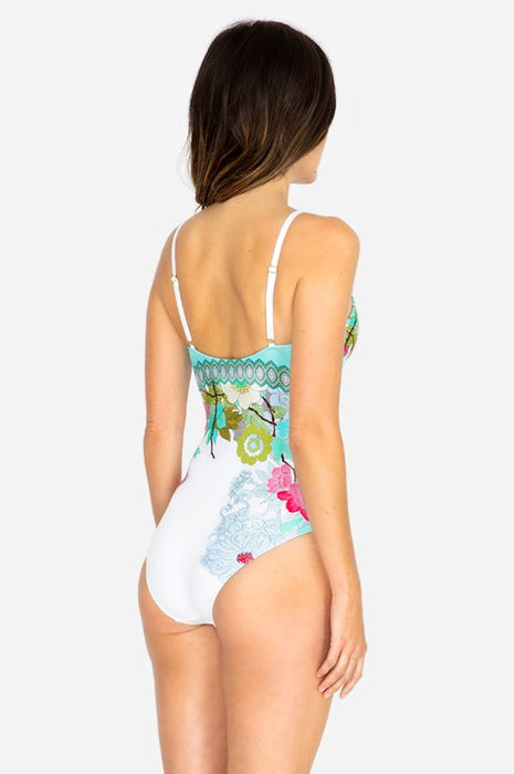 Johnny Was Cora Lace Front One-Piece Swimsuit Boho Chic CSW8319 NEW