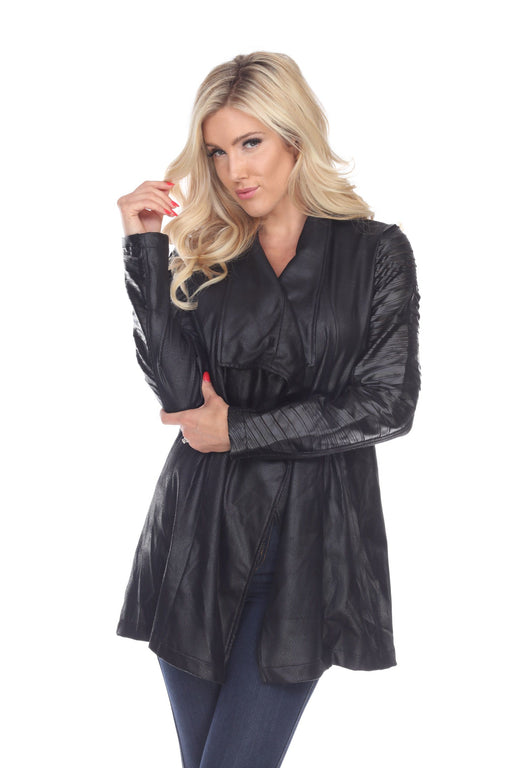 Joseph Ribkoff Style 194599 Black Faux Leather Open Front Cover-Up Jacket
