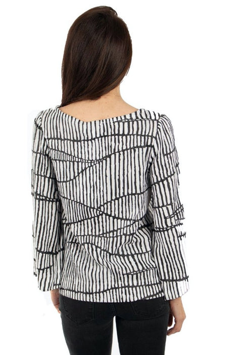 Joseph Ribkoff White/Black Graphic Print Cropped Blouse 193836 NEW