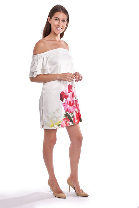 Joseph Ribkoff Off-White/Multi Floral Print Off-Shoulder Mini Dress 192660 NEW
