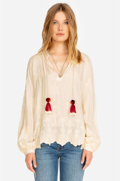 Johnny Was Style L14719 Dane Ecru Embroidered V-Neck Tasseled Peasant Top Boho Chic