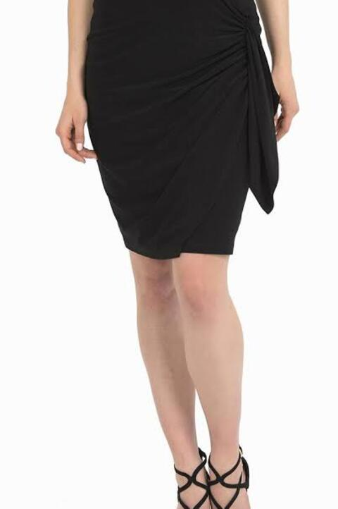 Joseph Ribkoff Style 194087 Black Ruched Knot Detail Draped Skirt