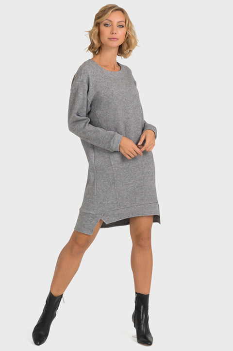 Joseph Ribkoff Style 193471 Grey Long Sleeve High-Low Hem Sweater Dress