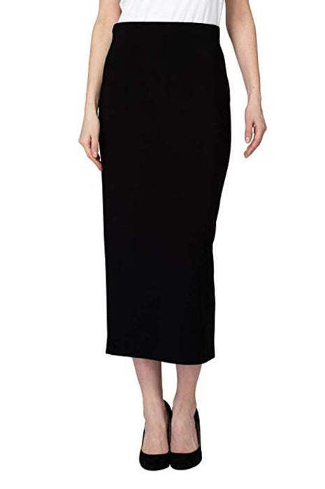 Joseph Ribkoff Style 193092 Black Straight Cut Slip-On Midi Skirt