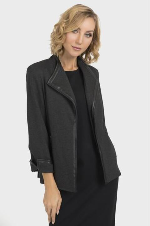 Joseph Ribkoff Style 193370 Charcoal Grey Pleather Trim Open Front Jacket