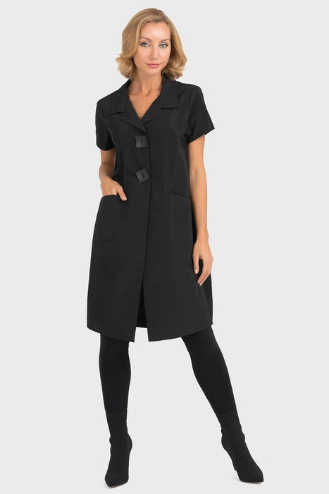 Joseph Ribkoff Black Short Sleeve Long Coat Jacket 193429 NEW