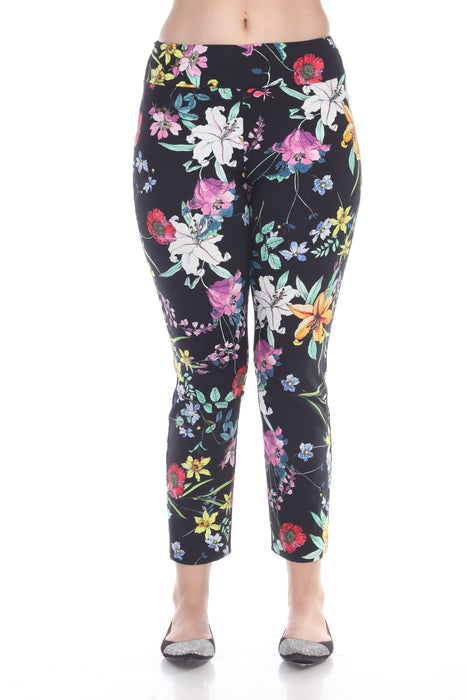 Joseph Ribkoff Style 191666 Black Multicolor Floral Printed Slip-On Pixie Pants