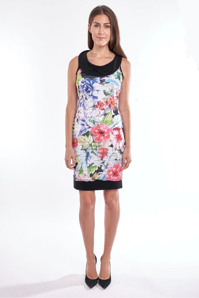 Joseph Ribkoff Style 192649 Multicolor Floral Print Layered Ruffle Sleeveless Sheath Dress