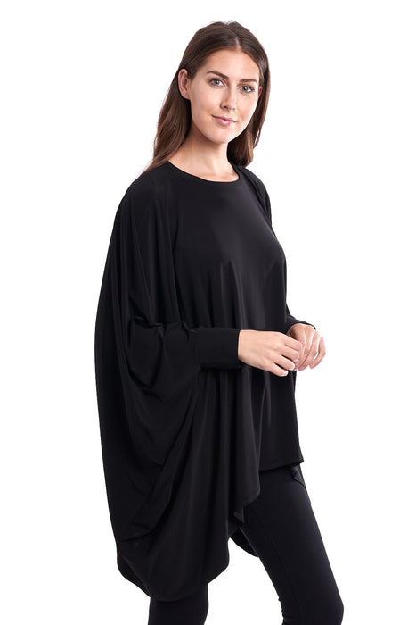 Joseph Ribkoff Black Oversized Kerchief Hem Tunic Top 193075 NEW