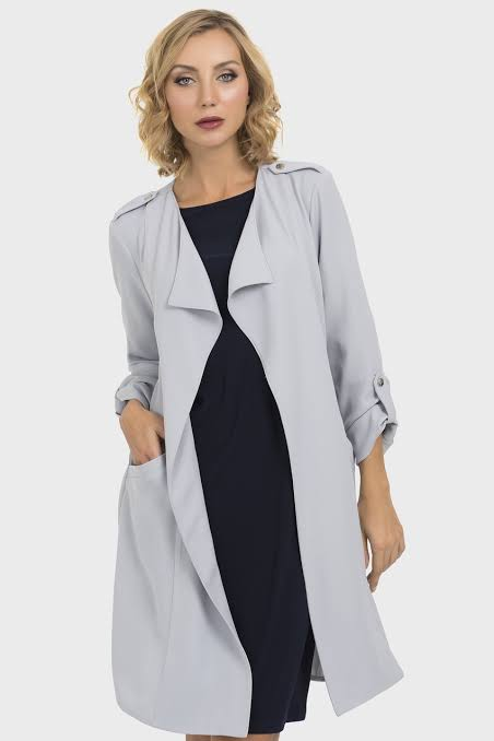 Joseph Ribkoff Style 193451 Grey Frost Open Front Trench Coat Jacket