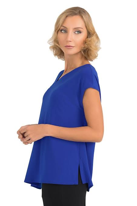 Joseph Ribkoff Royal Sapphire Asymmetric Neck Short Sleeve Top 193127 NEW