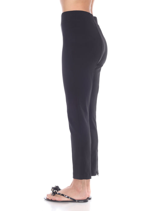 Joseph Ribkoff Black Embellished Ankle Zip Slip-On Cropped Pants 174090 NEW