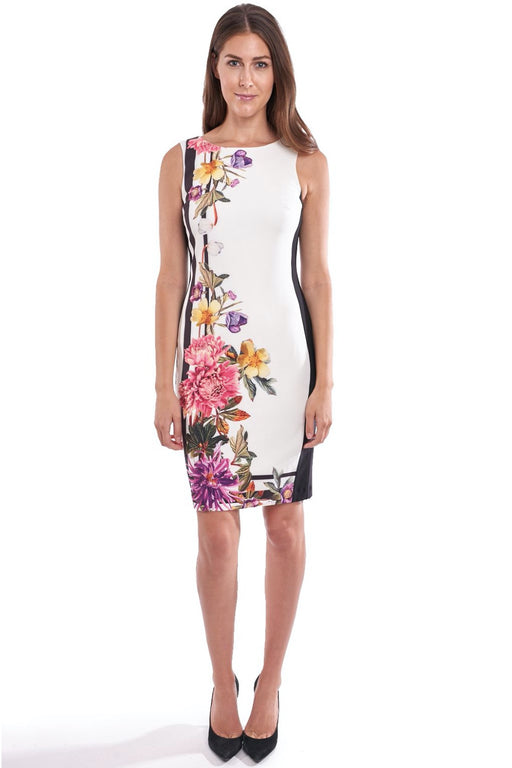 Joseph Ribkoff Style 192653 Off-White Multicolor Floral Print Sleeveless Sheath Dress