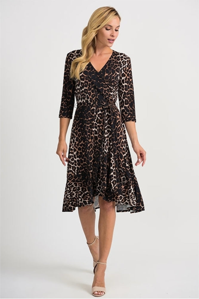 Joseph Ribkoff Style 201452 Beige Black Animal Print 3/4 Sleeve Wrap Dress