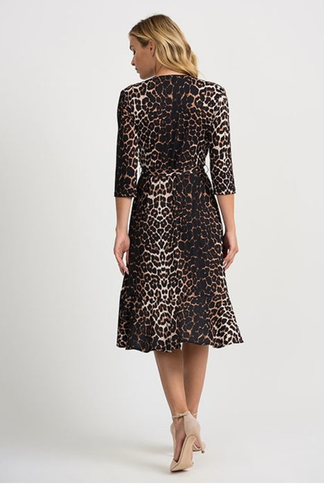 Joseph Ribkoff Beige/Black Animal Print 3/4 Sleeve Wrap Dress 201452 NEW