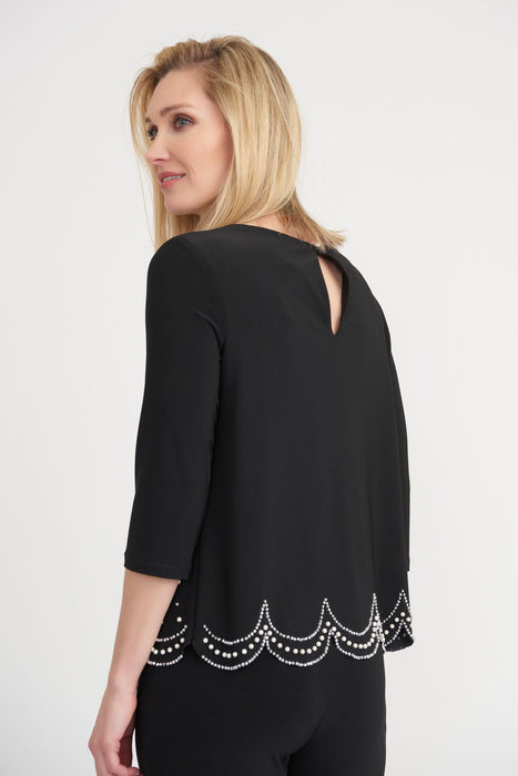 Joseph Ribkoff Embellished Round Neck 3/4 Sleeve Scallop Hem Top 203247 NEW