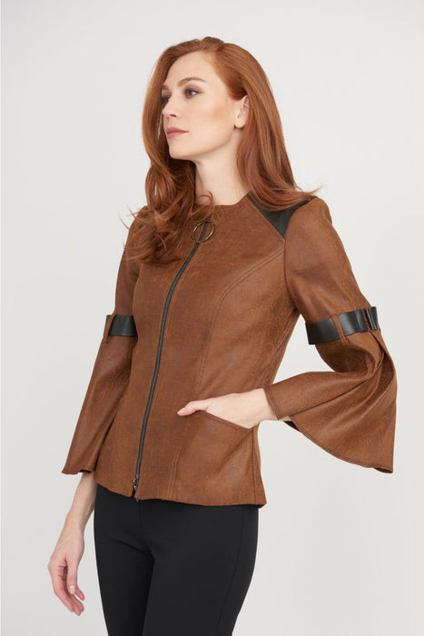 Joseph Ribkoff Style 203648 Cognac/Black Faux Leather Trim Zip-Up Faux Suede Jacket